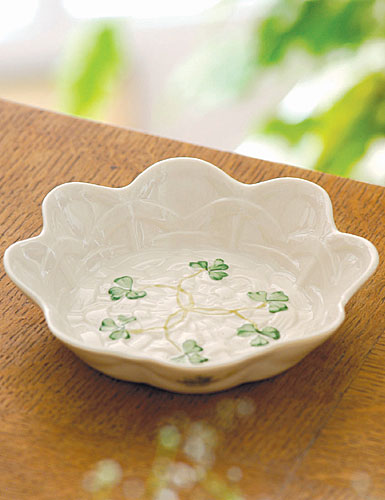 Belleek China Shamrock Sweet Dish