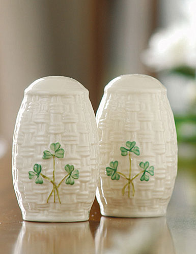 Belleek China Shamrock Salt and Pepper