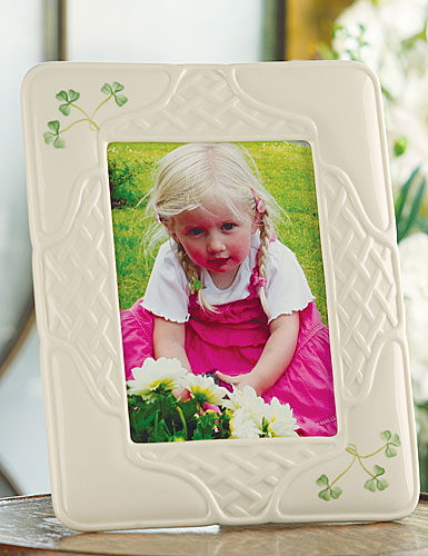 "Belleek China Shamrock Trellis 5x7"" Picture Frame"
