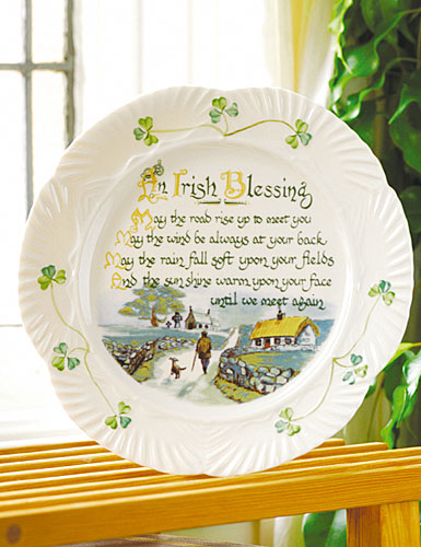 Belleek China Harp Irish Blessing Plate