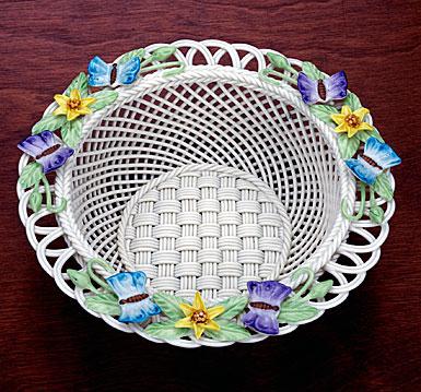 Belleek China Butterfly Meadow Basket