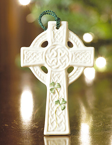 Belleek Saint Kierans Celtic Cross Ornament