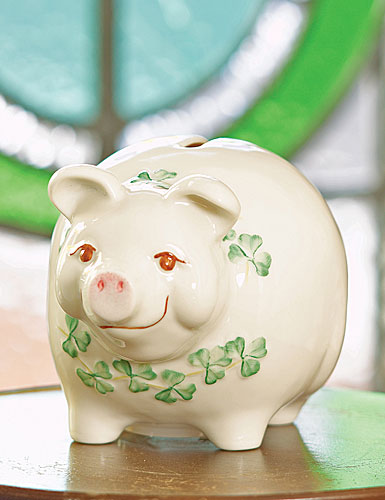 Belleek China Piggy Bank