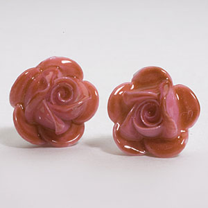 Belleek Rose Earrings, Pink