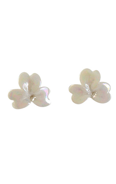 Belleek Porcelain Jewelry Shamrock Earrings Mother of Pearl, Pair