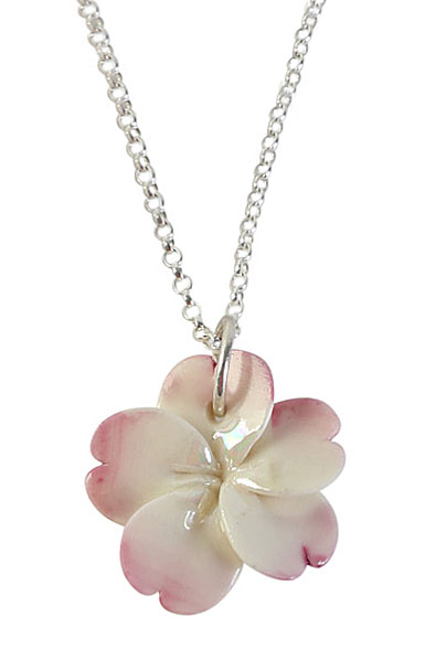 Belleek Porcelain Jewelry Plumeria Necklace Pink