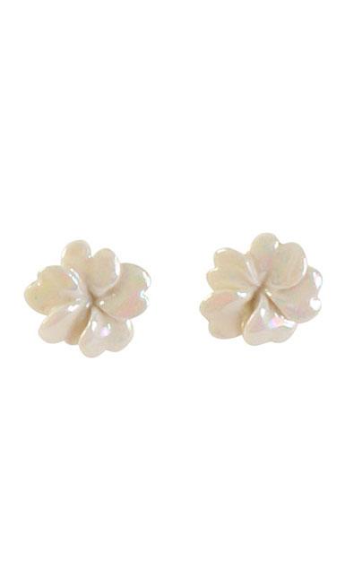 Belleek Porcelain Jewelry Plumeria Earrings Mother of Pearl, Pair