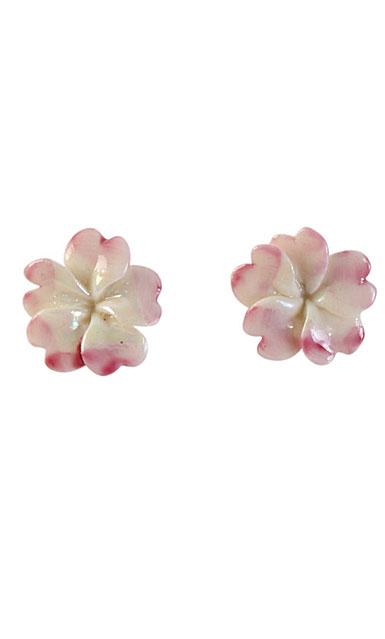 Belleek Porcelain Jewelry Plumeria Earrings Pink, Pair