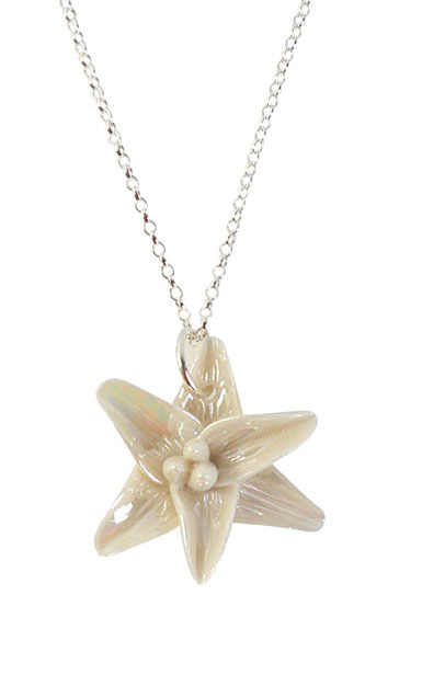 Belleek Porcelain Jewelry Freesia Necklace Mother of Pearl