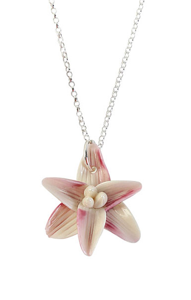 Belleek Porcelain Jewelry Freesia Necklace Pink
