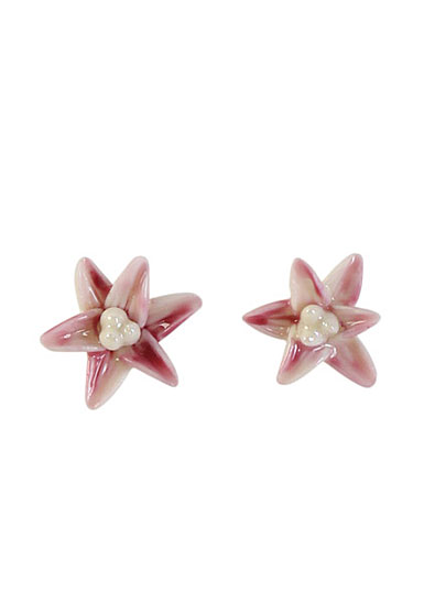 Belleek Porcelain Jewelry Freesia Earrings Pink, Pair