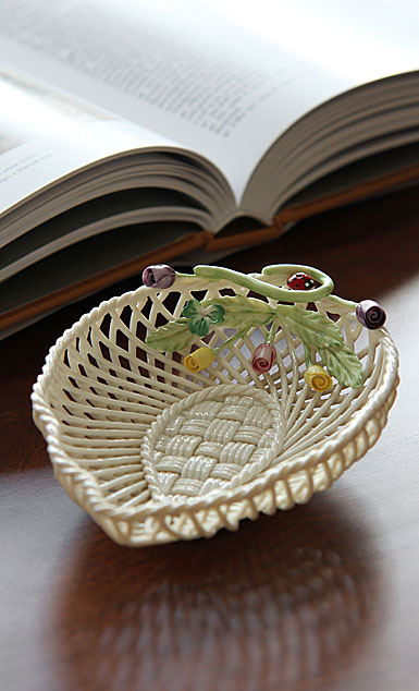 Belleek China Rose Bud Leaf Basket Bowl