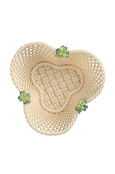 Belleek China Four Leaf Clover Basket