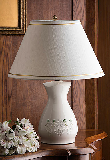 Belleek China Shamrock Lace Lamp and Shade