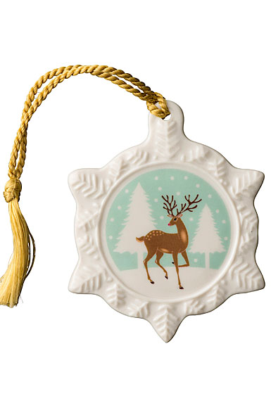 Belleek Reindeer Snowflake Ornament