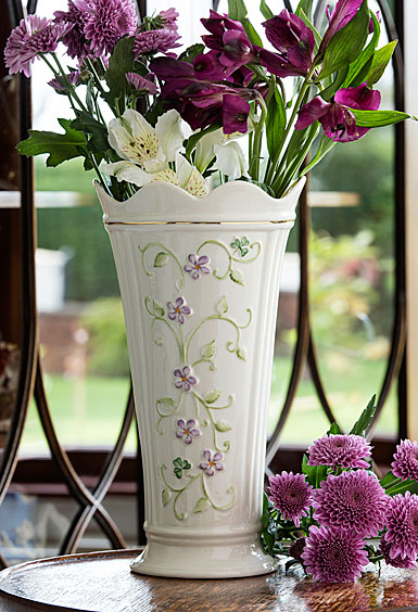 "Belleek China Irish Flax 9.5"" Vase"
