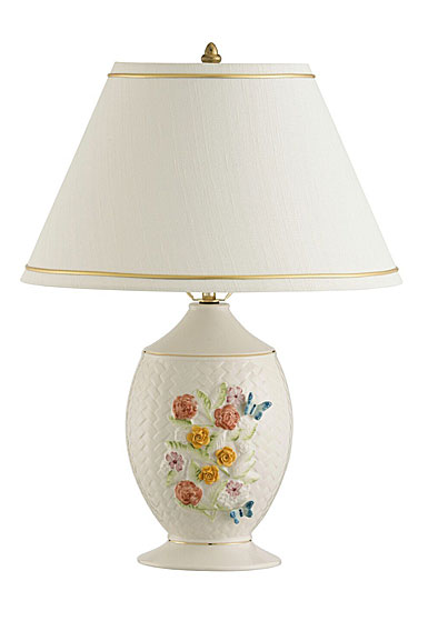 Belleek China Wickerweave Lamp and Shade