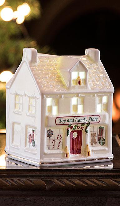 Belleek Irish Village Toy Store with LED Light