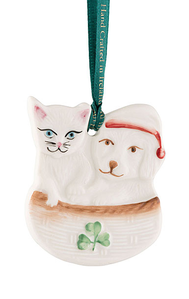 Belleek Christmas Dog and Cat Buddies Ornament