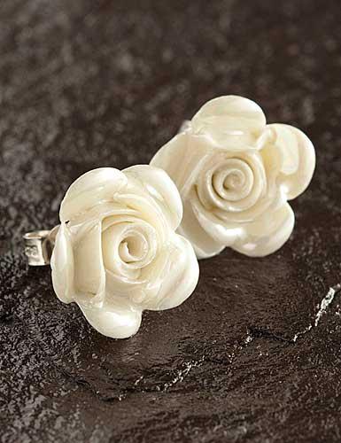 Belleek China Rose Pierced Earrings, Mother of Pearl