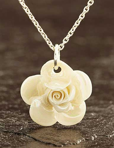 Belleek China Rose Pendant Necklace, Mother of Pearl
