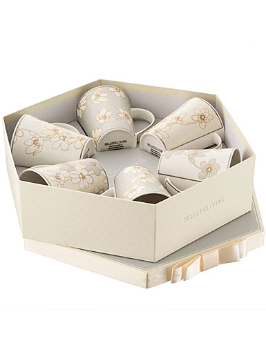 Belleek Living Bay Flowers Set of 6 Mugs in Hexagon Box