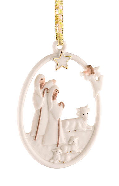 Belleek Shepherds Nativity Ornament
