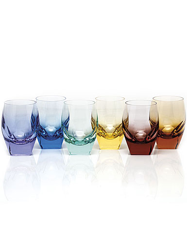 Moser Crystal Bar DOF Tumblers, Set of 6 Rainbow Colors
