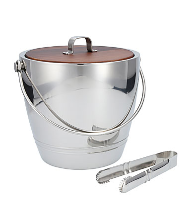 Crafthouse Stainless Steel Round Ice Bucket with Tongs Set