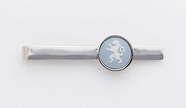 Wedgwood Pale Blue Round Tie Slide, Rampant Lion