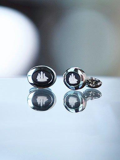 Wedgwood Black Oval Cufflinks, Silver Ship