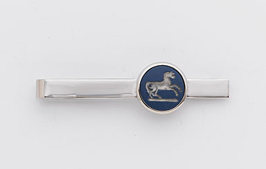 Wedgwood Saxon Blue Round Tie Slide, Prancing Horse