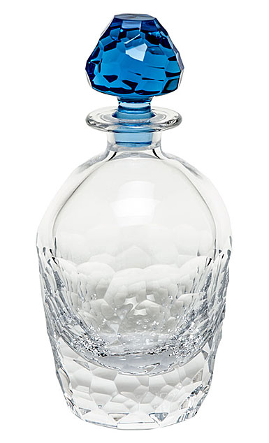 """Moser Crystal Fusion Decanter 24 Oz. 10.8"""" Clear and Aquamarine"""