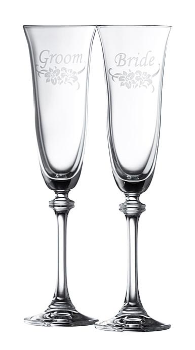 Galway Bride and Groom Flute Floral Spray Pair