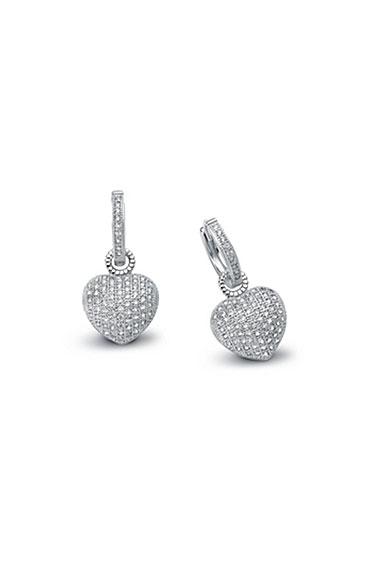 Cashs Crystal Pave Sterling Silver Heart Hoop Pierced Earrings, Pair