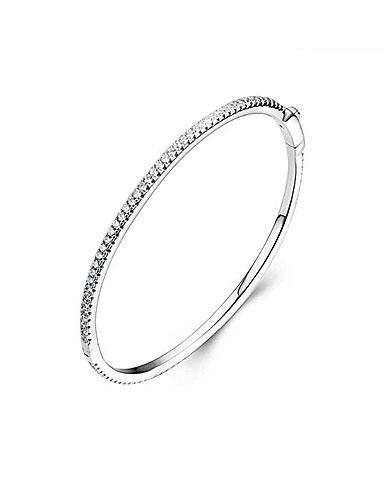 Cashs Ireland, Crystal Pave Sterling Silver Hinged Bracelet