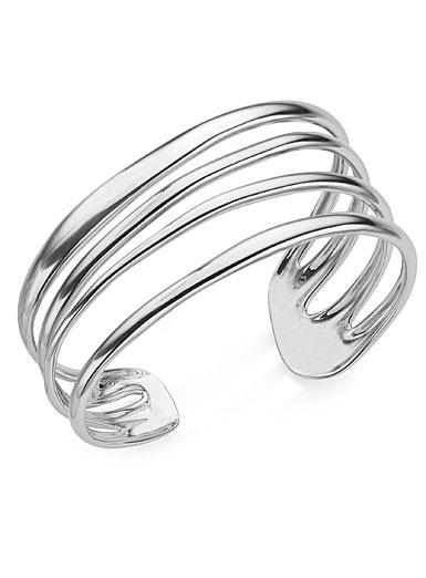 Nambe Jewelry Silver Multi Band Cuff Bracelet, Large