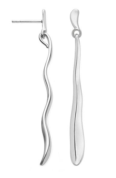 Nambe Jewelry Silver Wave Drop Earrings, Pair
