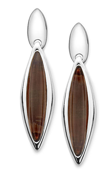 Nambe Jewelry Silver/Smoke Marquise Earrings, Pair - Smokey Quartz