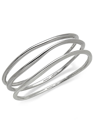Nambe Jewelry Silver Namb Signature Bangle Bracelets (Set of 3)