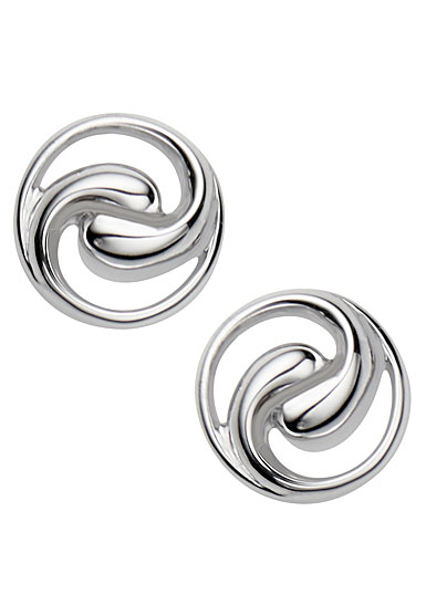 Nambe Jewelry Silver Dharma Stud Earrings, Pair