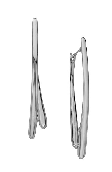 Nambe Jewelry Silver Double Arc Earrings, Pair