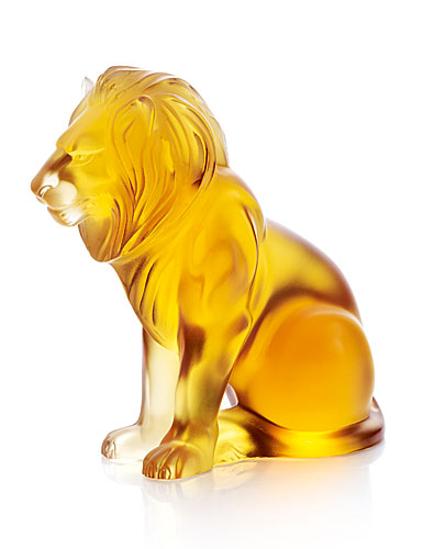 Lalique Amber Bamara Lion Figure