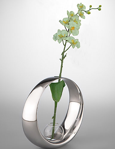 Nambe Globe Bud Vase with Orchid