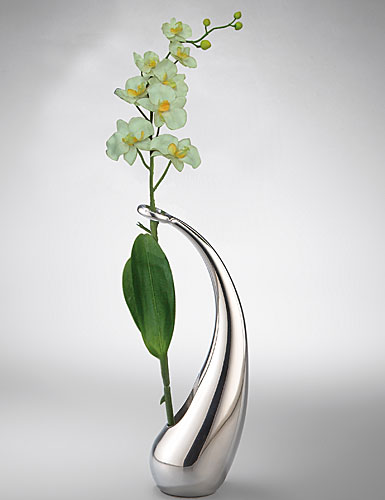 Nambe Elbow Bud Vase with Orchid