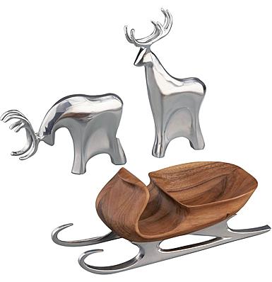 Nambe Christmas Sleigh with 2 Reindeer, 3 Piece Set