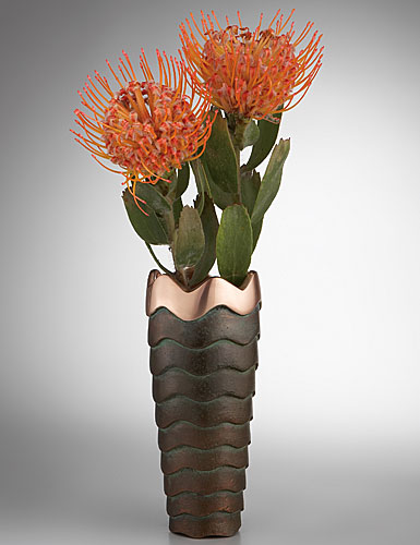 Nambe Metal Copper Canyon Bud Vase, 7in H