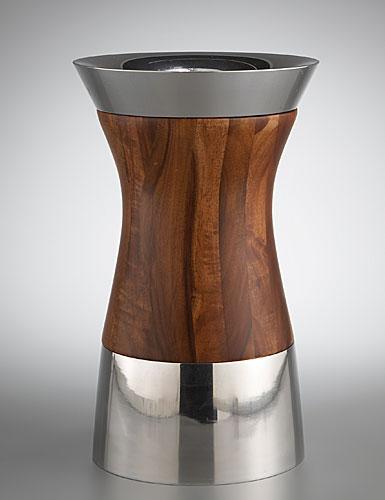 Nambe Metal/Wood Column Vase