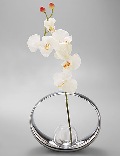 "Nambe Metal Globe Bud Vase With Silk Orchid - Large, 8"" H"