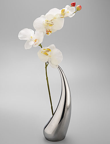 Nambe Elbo Large Vase with Orchid